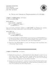11. ¨Ubung zur Vorlesung Programmierung II, SS 2004