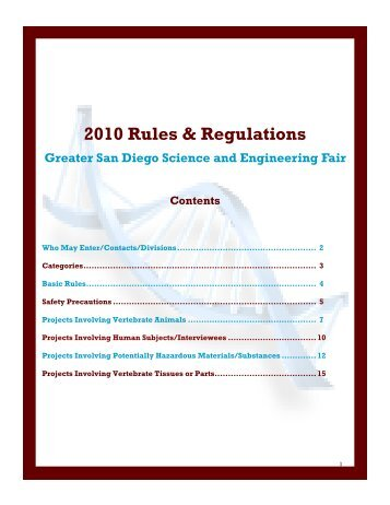 2010 Rules & Regulations - Greater San Diego Science and ...