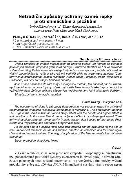 Netradiční způsoby ochrany ozimé řepky proti ... - Konference, Agro
