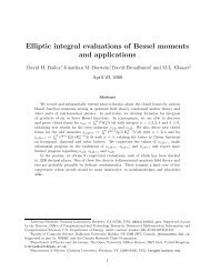 Elliptic integral evaluations of Bessel moments and ... - CiteSeerX