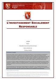 L'Investissement Socialement Responsable - Base de connaissance ...