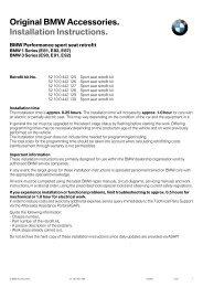 Original BMW Accessories. Installation Instructions. - Fichier PDF