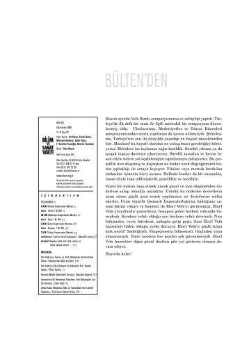 bülten 62 (pdf) - Bilim ve Sanat Vakfı