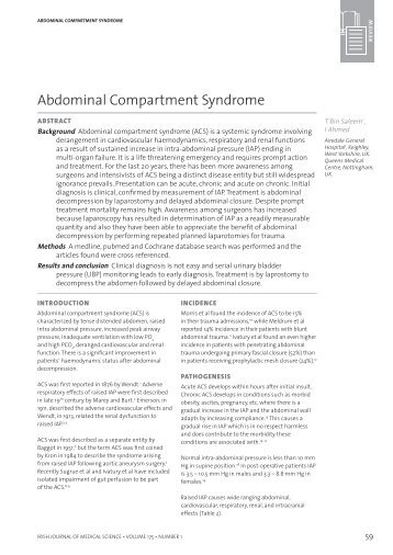 Abdominal Compartment Syndrome - IJMS | Irish Journal of Medical ...