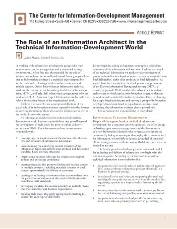 The Role of an Information Architect in the Technical Information ...
