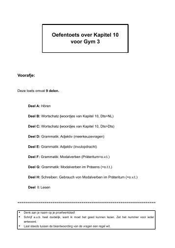 Oefentoets over Kapitel 10 voor Gym 3