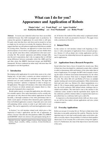 What can I do for you? Appearance and Application of Robots