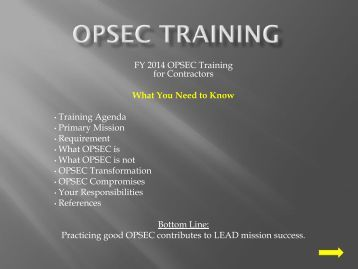 FY 2012 OPSEC Training - Letterkenny Army Depot
