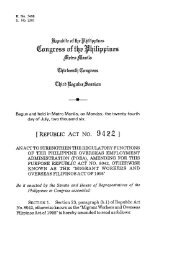 RA No. 9422 - Strengthening the Regulatory Functions of the POEA