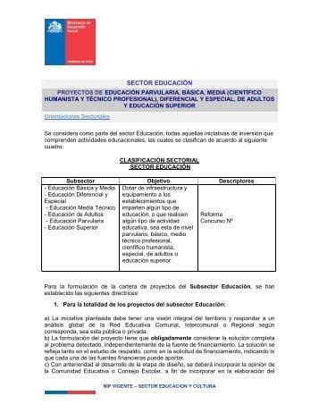 SECTOR EDUCACIÓN - Sistema Nacional de Inversiones