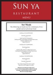 Set Meals - Sun Ya restaurant