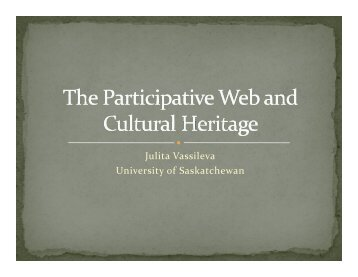 SLIDES in PDF - Julita Vassileva - University of Saskatchewan