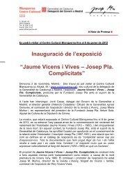 Jaume Vicens i Vives - Josep Pla. Complicitats - Premsa