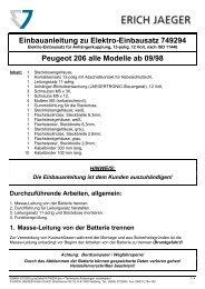 Einbauanleitung zu Elektro-Einbausatz 749294 Peugeot 206 alle ...