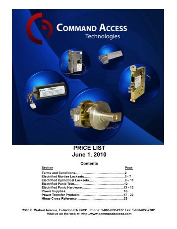 PRICE LIST June 1, 2010 - Access Hardware Supply