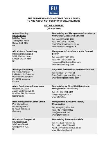 List of Members - EUConsult