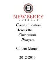 Student Manual (2012-2013 PDF) - Newberry College