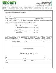 Requerimento de Diploma - Unoeste
