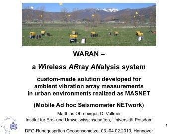 WARAN – a Wireless ARray ANalysis system