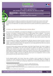 Des « ateliers compréhension - Centre académique de ressources ...