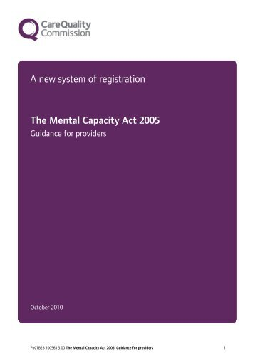 The Mental Capacity Act 2005: Guidance for providers