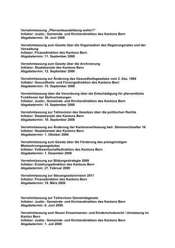Initiator: Justiz-, Gemeinde- und Kirchendirektion des Kantons Bern ...
