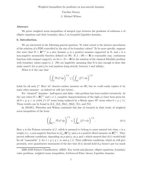 Weighted inequalities for gradients on non-smooth domains ...