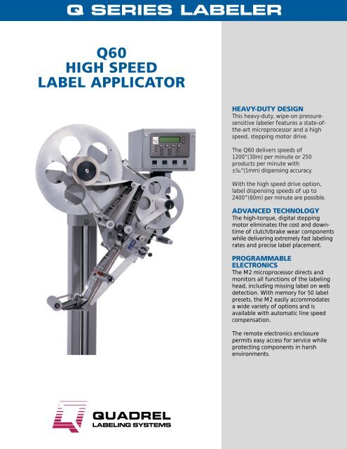 Q60 HIGH SPEED LABEL APPLICATOR - Marsh Micro Systems