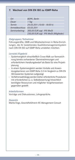 7. Wechsel von DIN EN ISO zu IQMP-Reha - IQMG Institut für ...