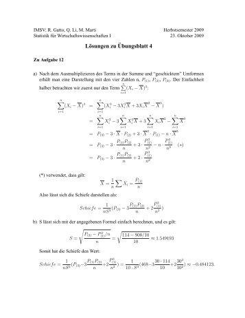 Lösungen zu ¨Ubungsblatt 4