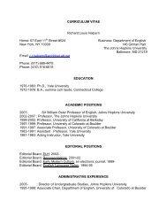 Curriculum Vitae - English - Johns Hopkins University