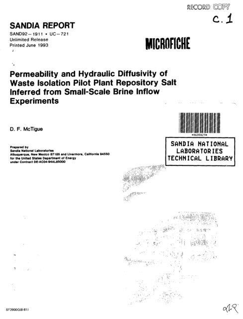 Permeability and Hydraulic Diffusivity of Waste Isolation Pilot Plant ...