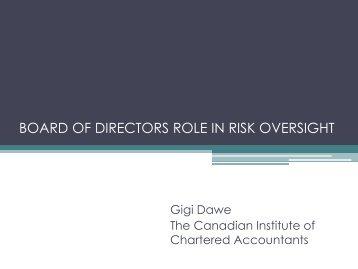 The Board of Directors Role in Risk Oversight - FEI Canada