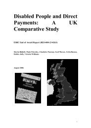 Disabled People and Direct Payments: A UK Comparative Study
