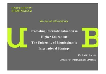 (2E) Judith Lamie - Internationalising Higher Education