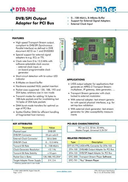 DTA-102 DVB/SPI Output Adapter for PCI Bus - DekTec