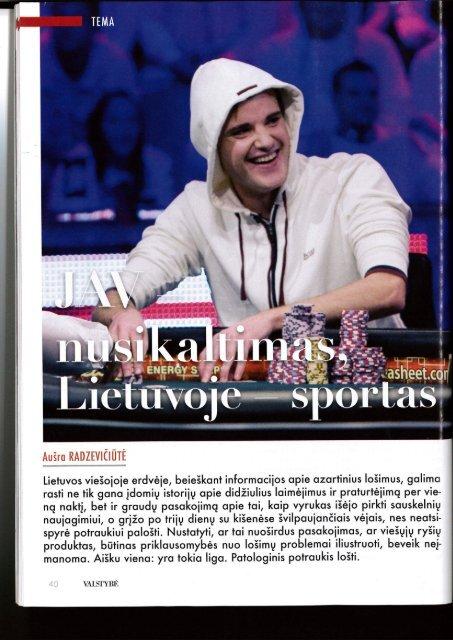 JAV - nusikaltimas, Lietuvoje - sportas