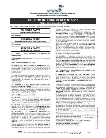Nº 59/2010 - SERES - Governo do Estado de Pernambuco