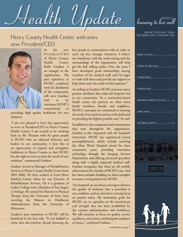 Health Update learning to live well - Henry County Health Center