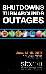 Shutdowns - Turnarounds - Outages - STO Conference