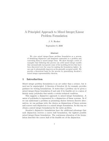 A Principled Approach to Mixed Integer/Linear Problem Formulation