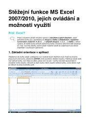 Stěžejní funkce MS Excel 2007/2010, jejich ovládání a ... - Elektra
