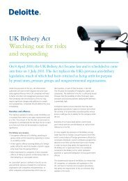 UK Bribery Act Watching out for risks and responding - Center for ...