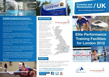 Our London 2012 Pre-Games Training Camp Offer ... - Coventry 2012