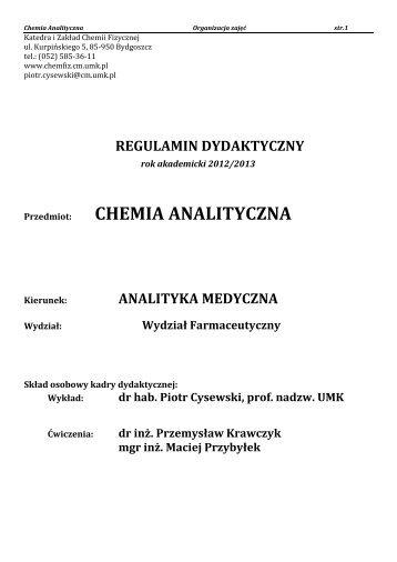 2. Regulamin dydaktyczny - Katedra i Zakład Chemii Fizycznej