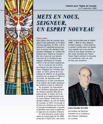 Dépliant de la collecte 1998 - Conférence des évêques catholiques ...