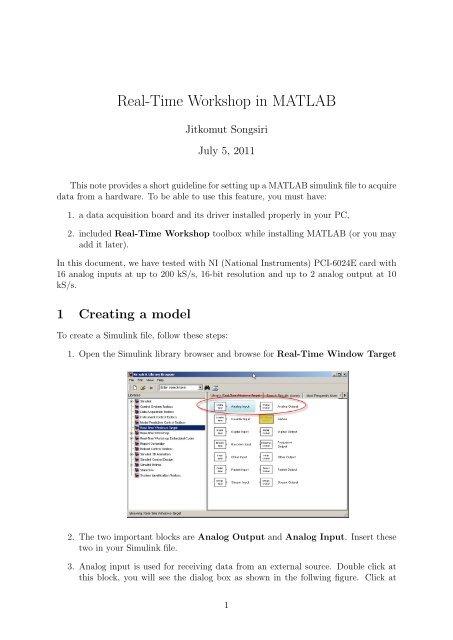 Real-Time Workshop in MATLAB - Jitkomut Songsiri