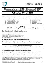Einbauanleitung zu Elektro-Einbausatz 749737 AUDI A8 ab 06/94 ...