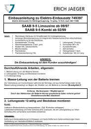 Einbauanleitung zu Elektro-Einbausatz 749397 SAAB ... - Bertelshofer