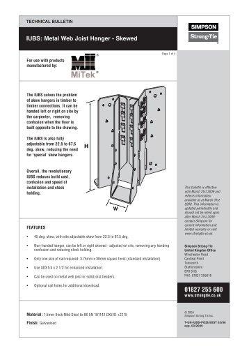 IUBS: Metal Web Joist Hanger - Skewed - Simpson Strong-Tie